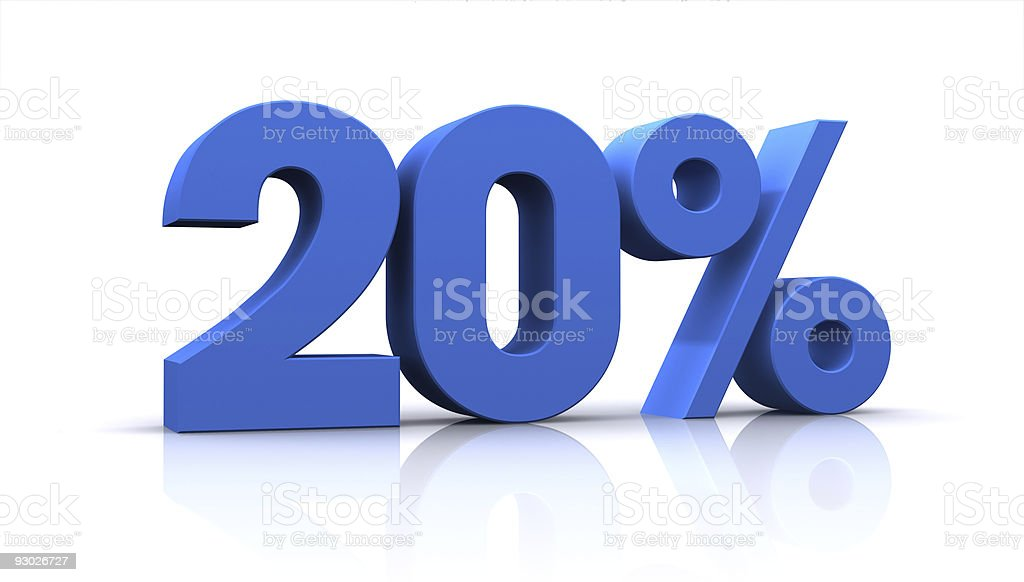 percentage, 20% stock photo