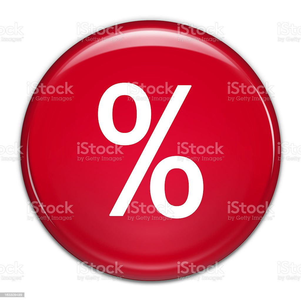 Percentage Button (with clipping path) royalty-free stock photo