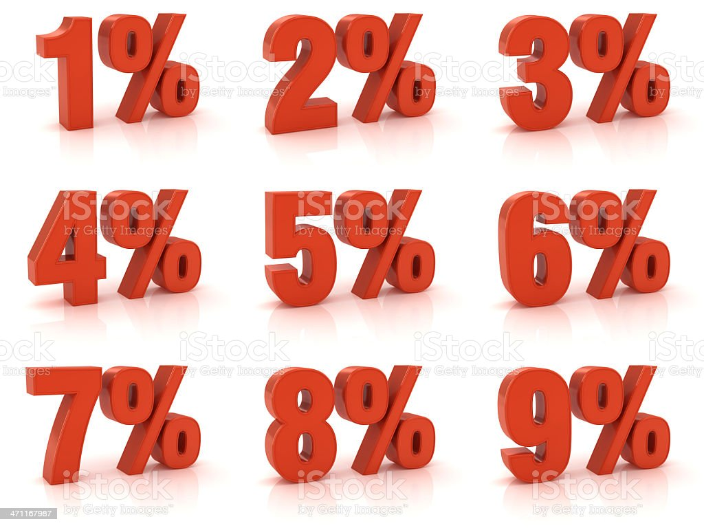 Percentage from 1 to 9 stock photo