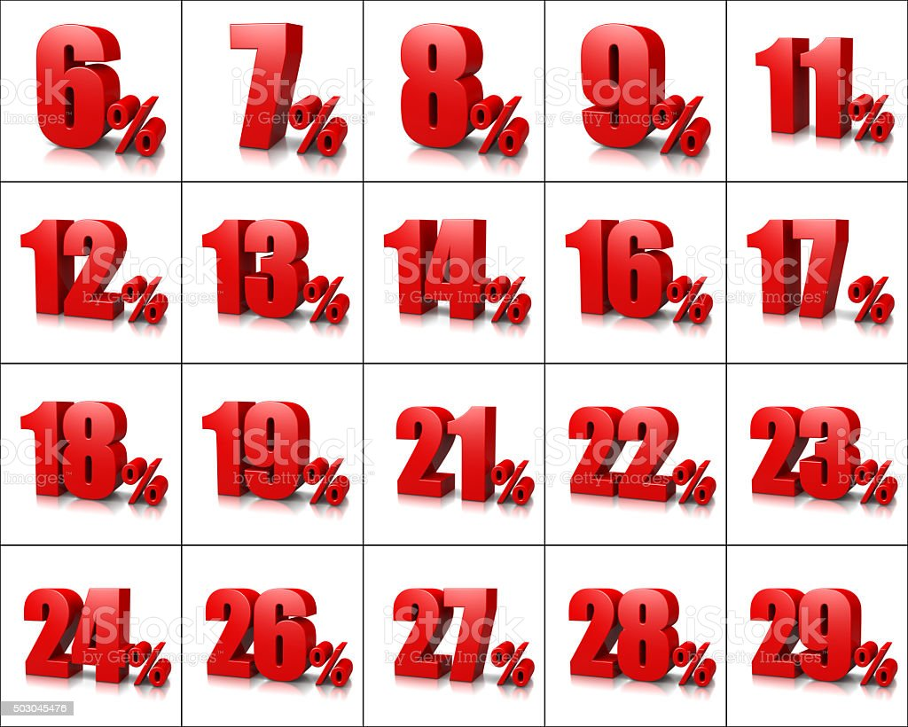 Percentage Numbers Series 2 stock photo