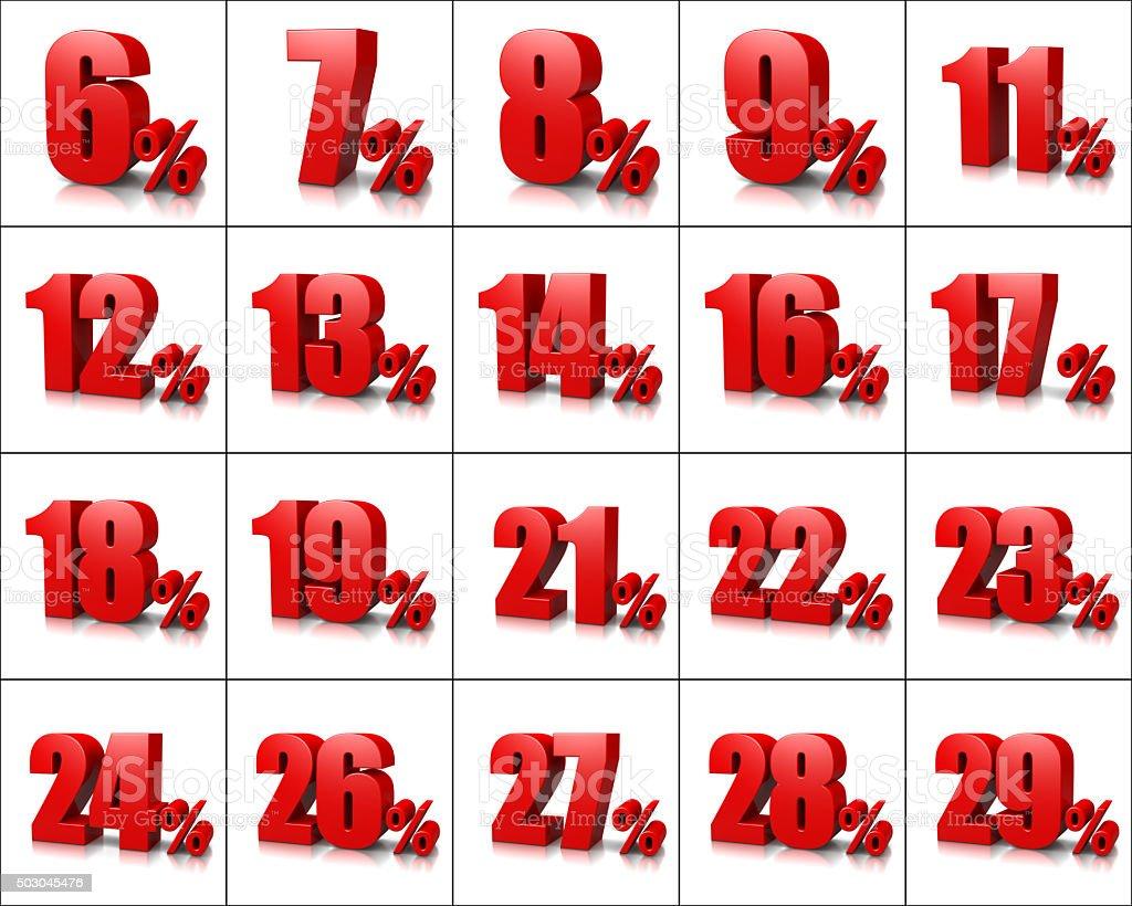 Percentage Numbers Series 2 stock photo