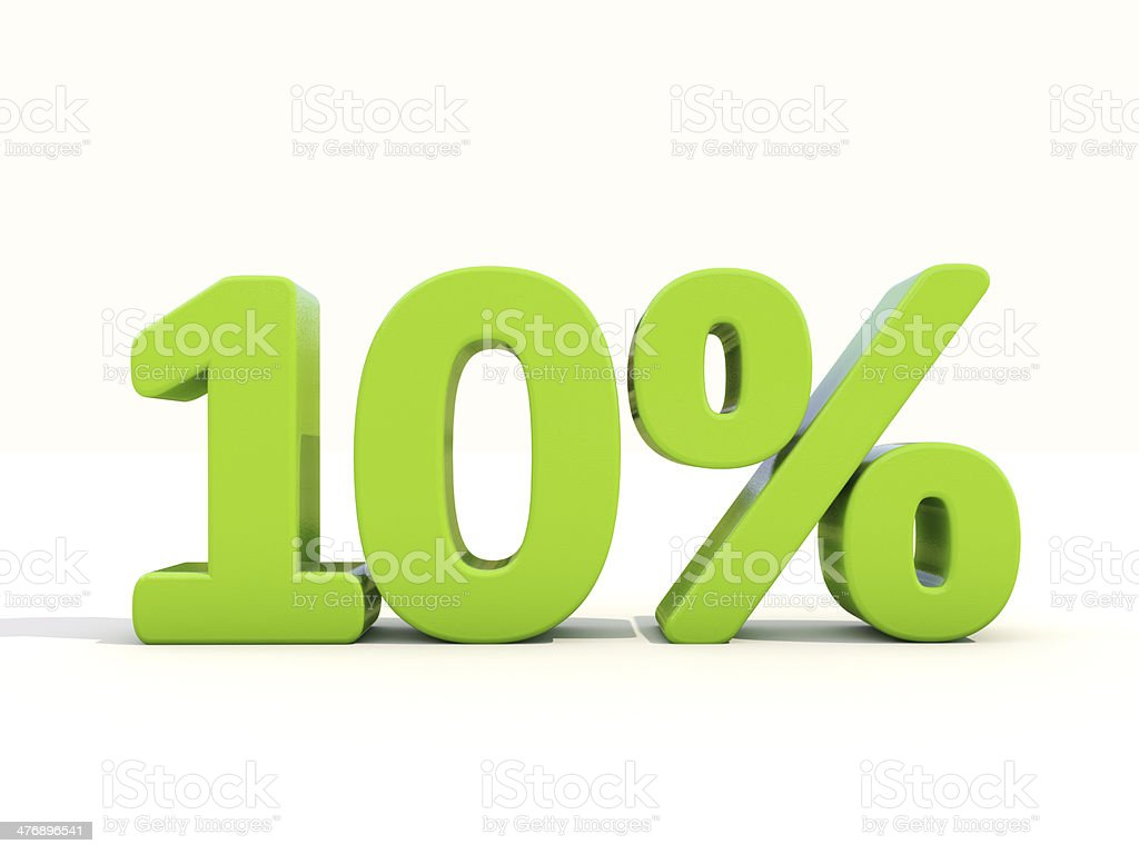 10% percentage rate icon on a white background stock photo
