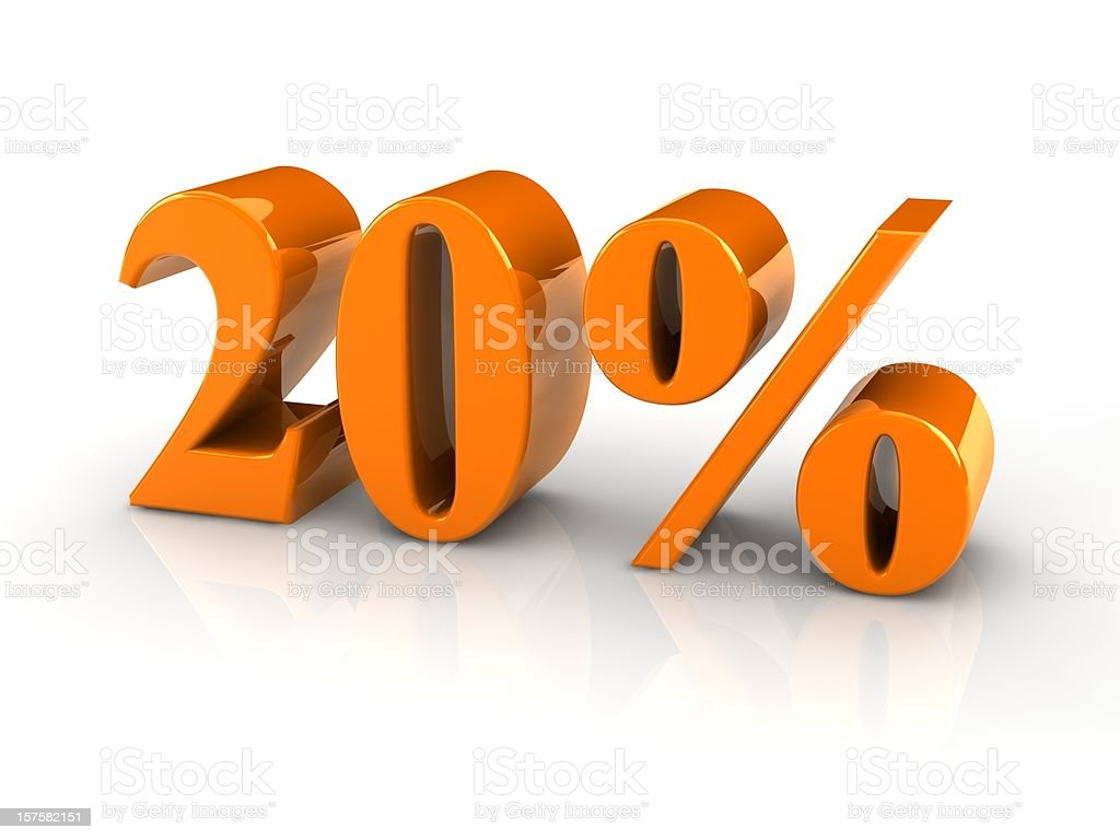 percentage sign 20% royalty-free stock photo