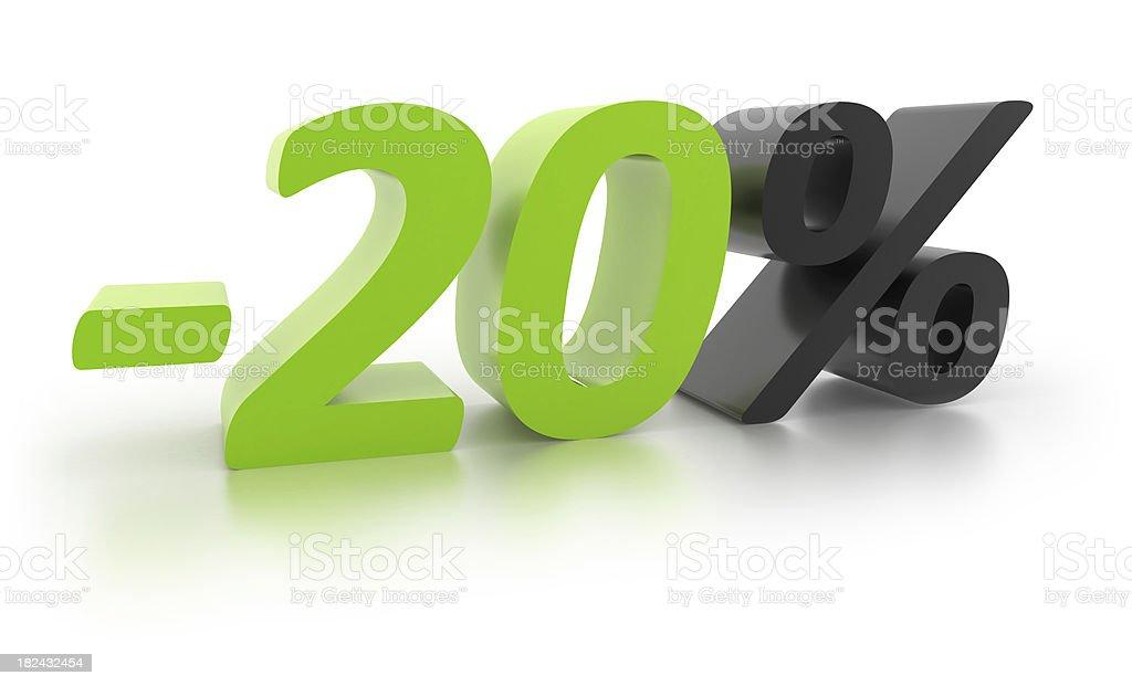 Percentage Sign -20% royalty-free stock photo