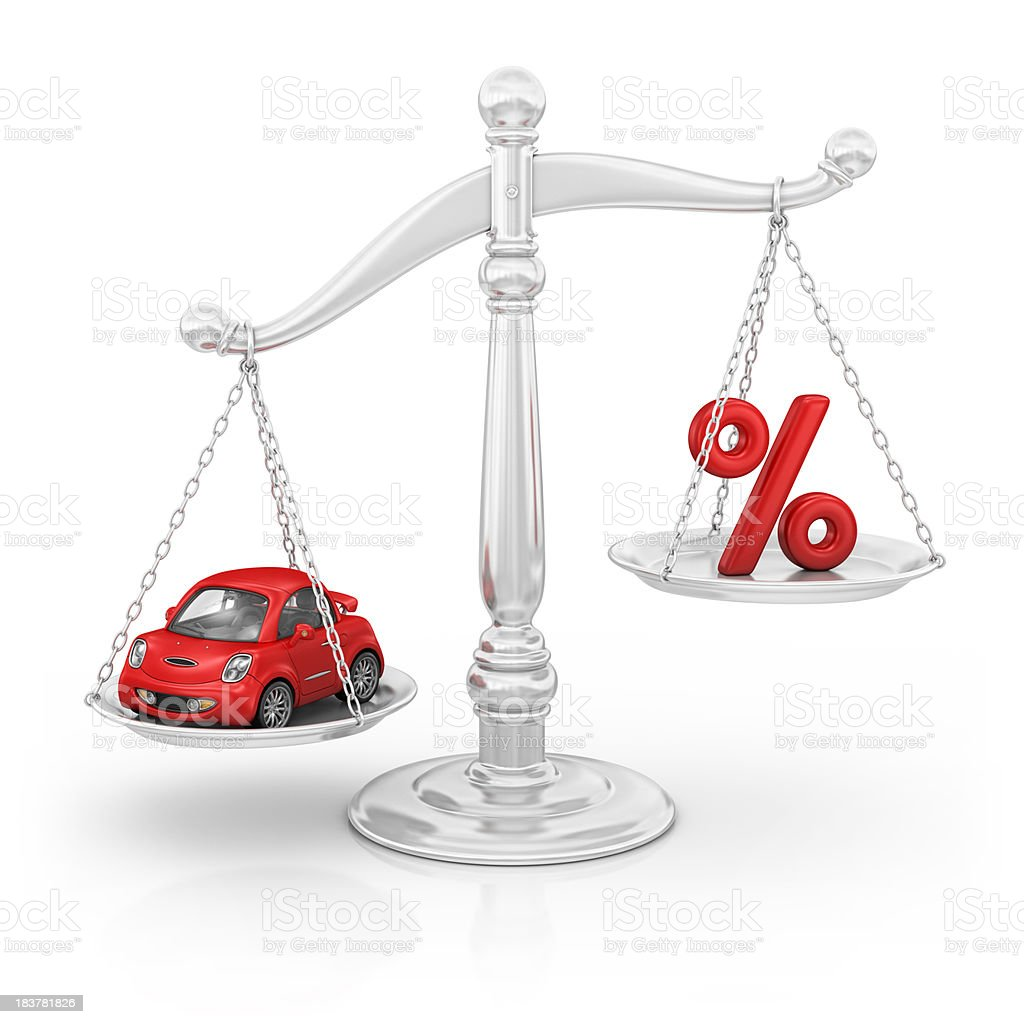 percentage sign and car on scale royalty-free stock photo