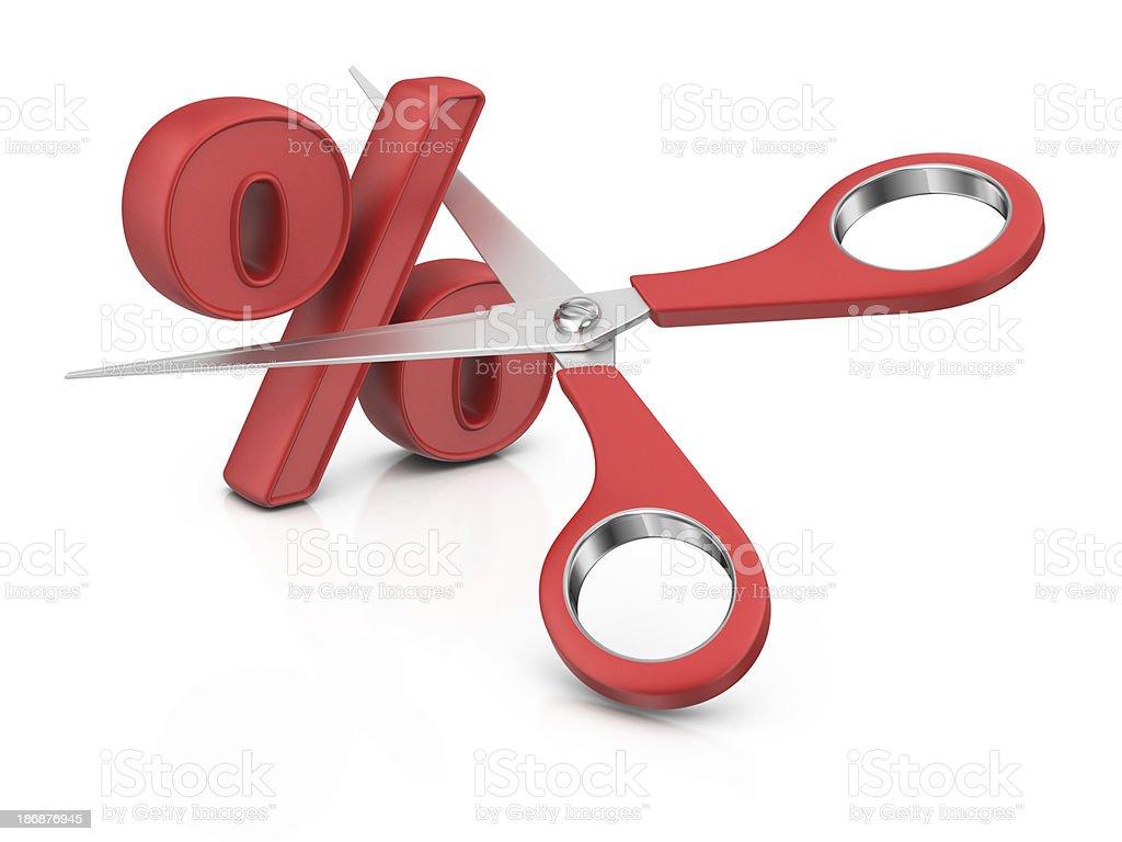 SALE - Percentage Sign and Scissors stock photo