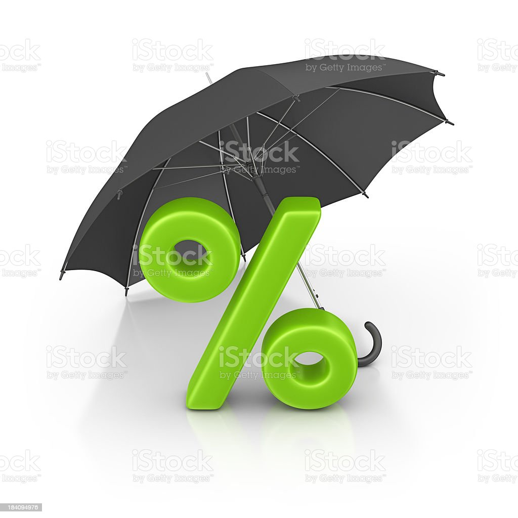 percentage sign and umbrella royalty-free stock photo
