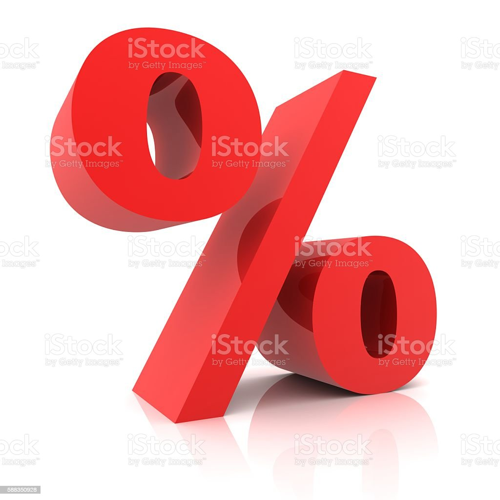 Percentage sign isolated stock photo