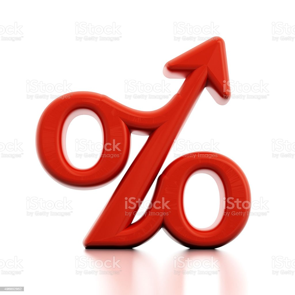 Percentage sign with a rising arrow stock photo