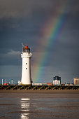 Perch Rock Lighthouse and rainbow