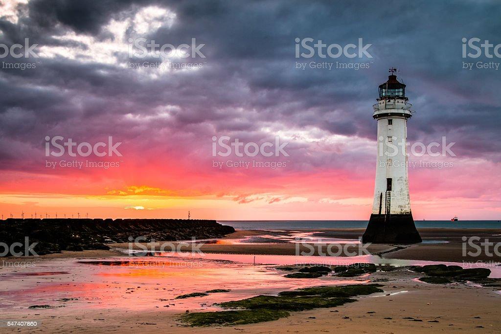 Perch Rock Lighthouse at sunset stock photo