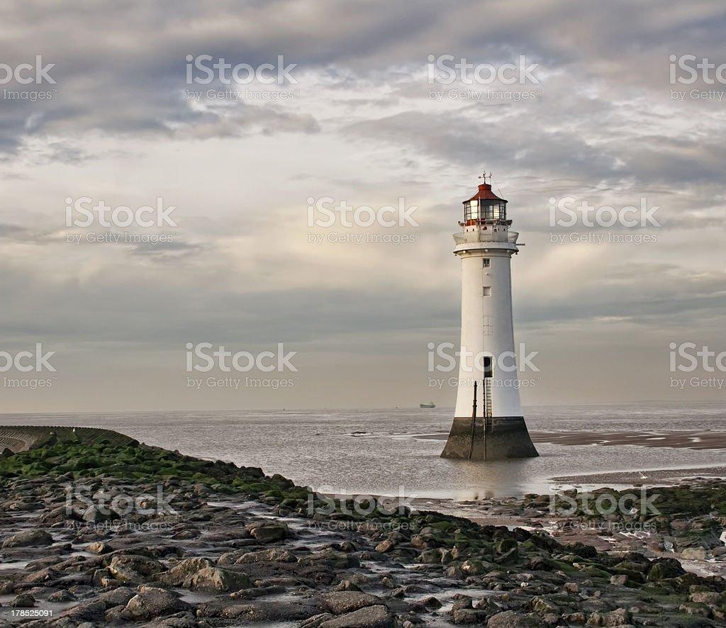 Perch Rock Lighthouse new brighton at dusk. stock photo