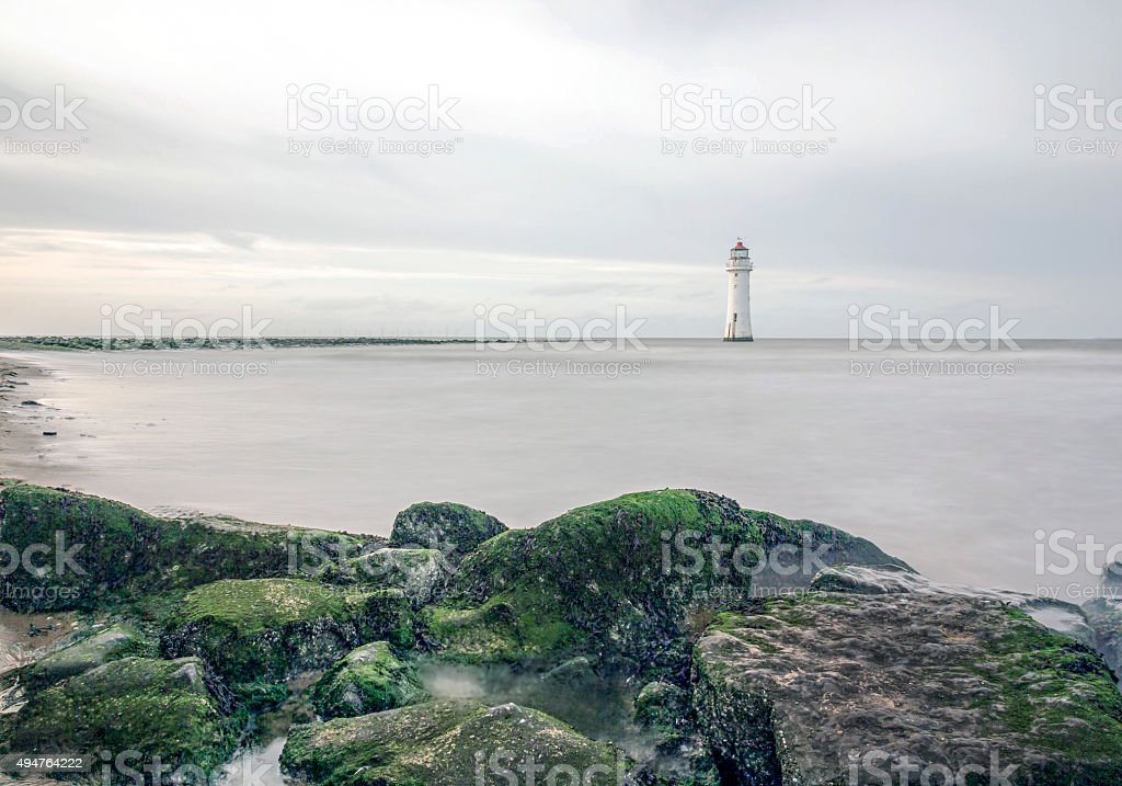 Perch Rock Lighthouse, New Brighton, Merseyside, England stock photo