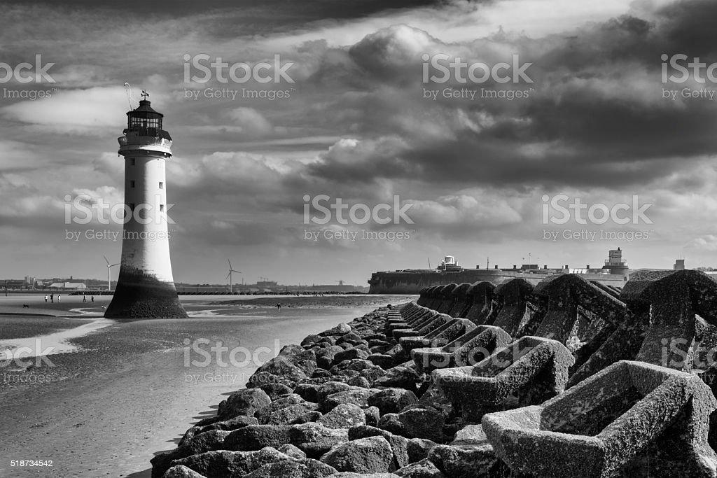 Perch Rock Lighthouse - New Brighton Wirral Merseyside UK stock photo