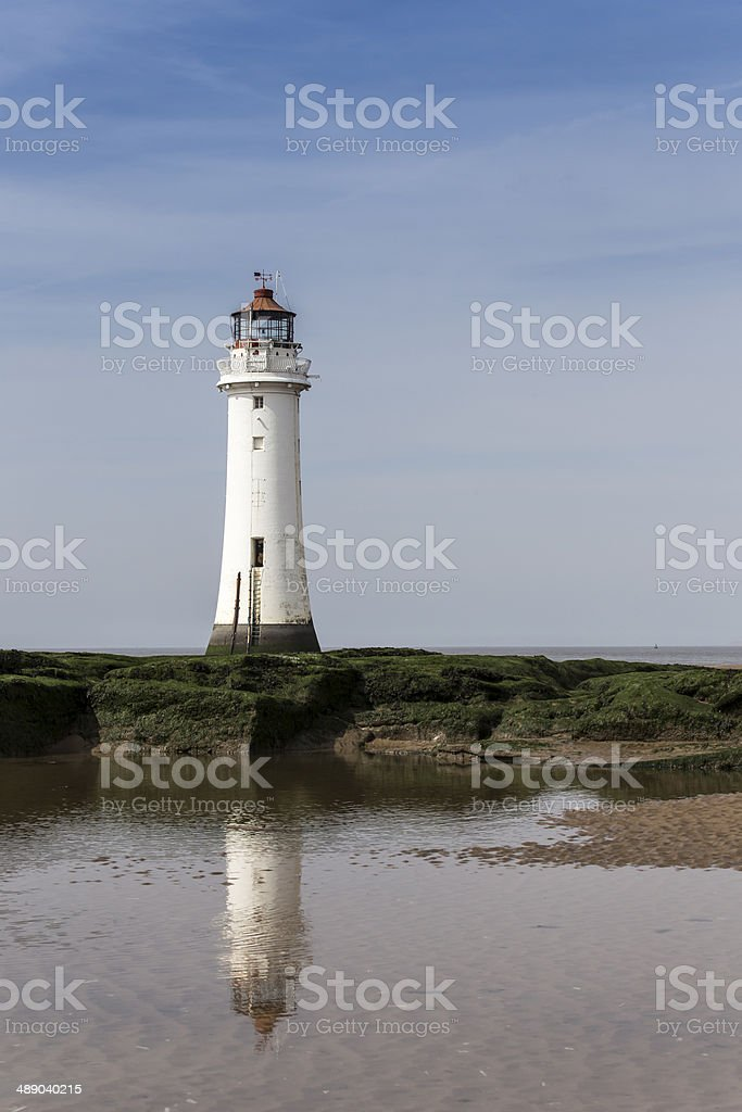 Perch Rock Lighthouse with reflection stock photo