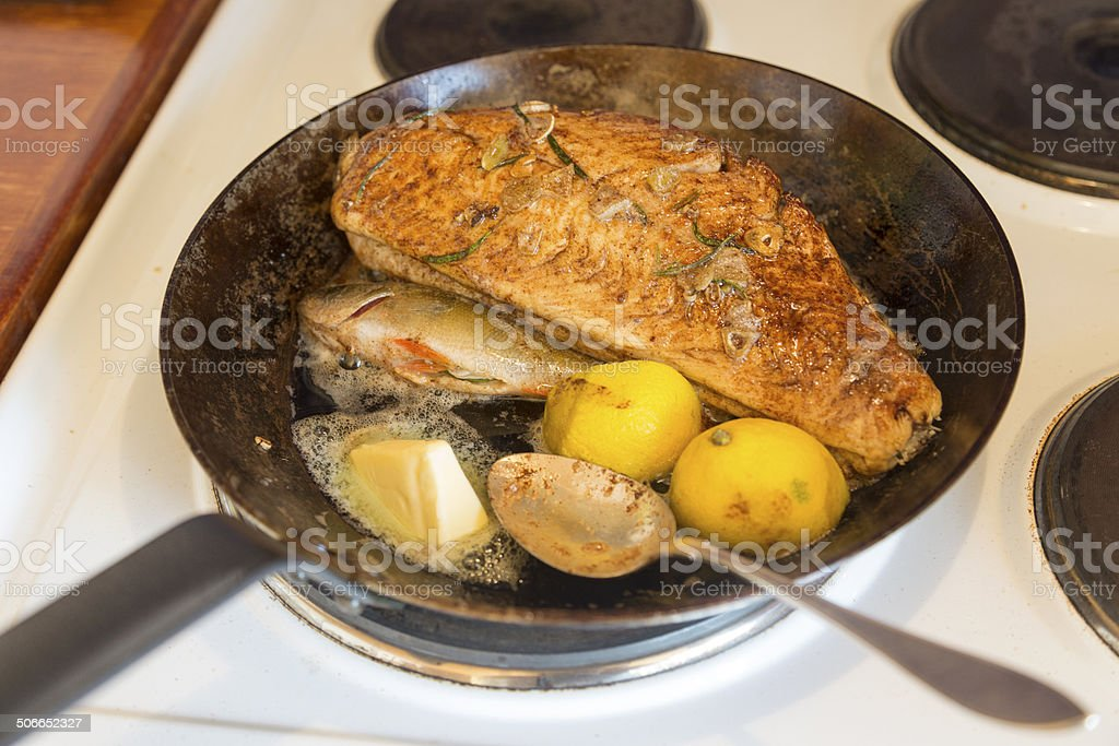Perch, the days catch in the pan. stock photo