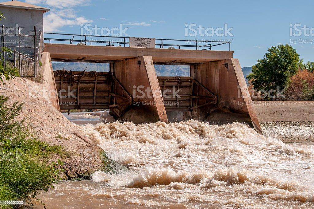 Percha Dam on Rio Grande in New Mexico stock photo