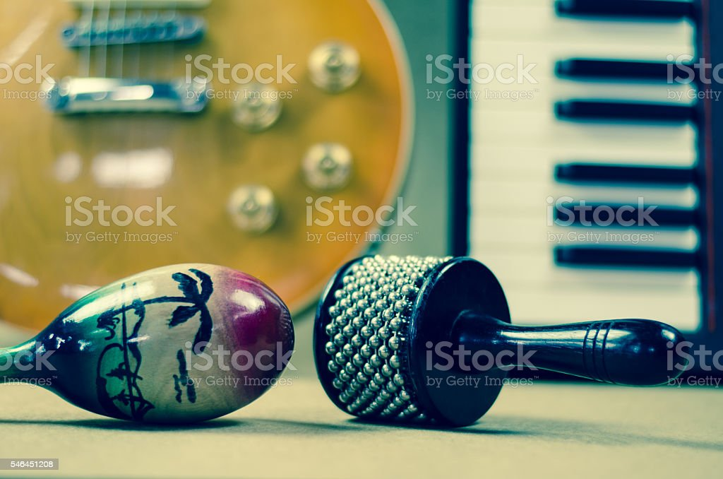 Percussion and Electric guitar Accessories music stock photo