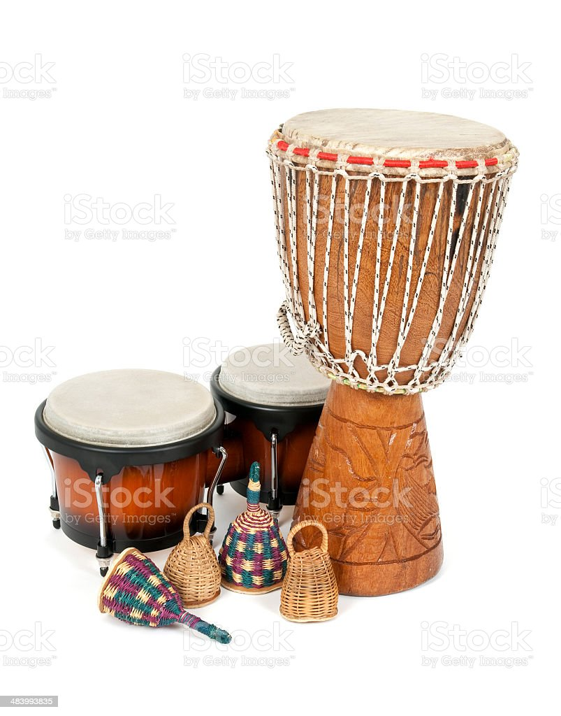 Percussion music instruments stock photo