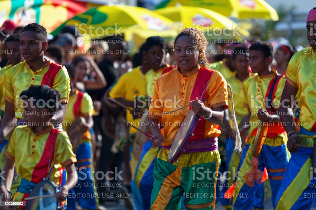 Percussionists at the Grand Boucan carnival stock photo