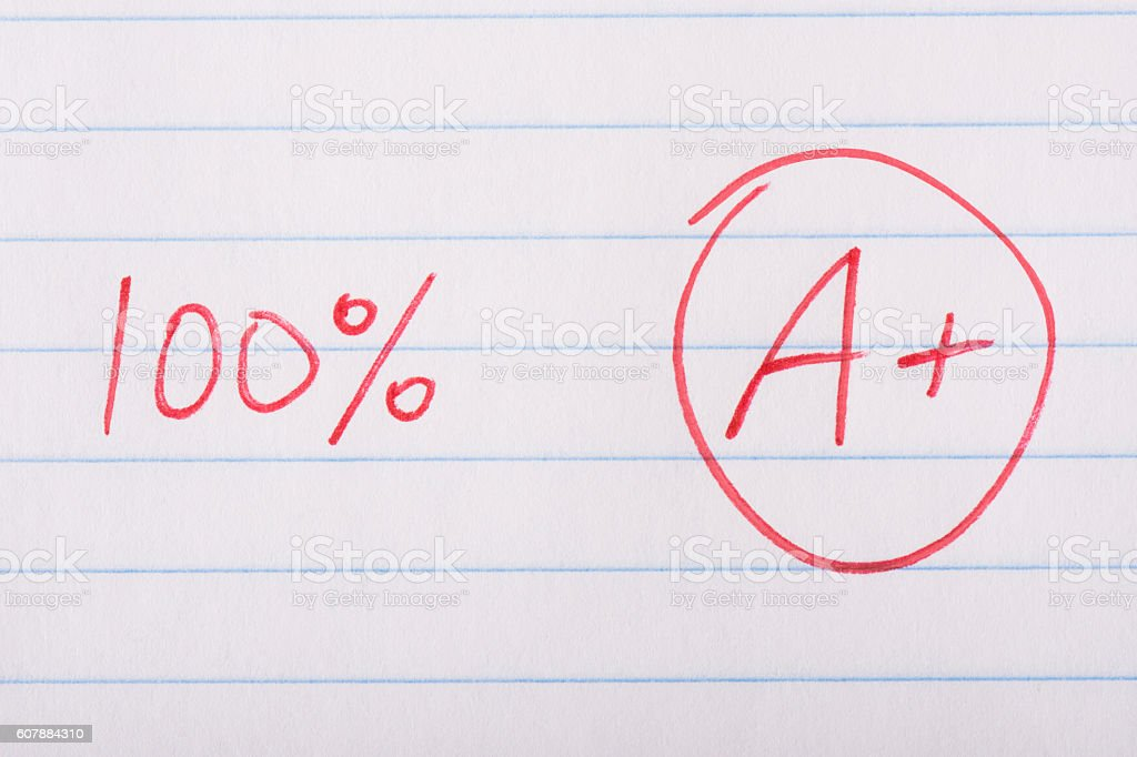 Perfect 100 percent grade stock photo