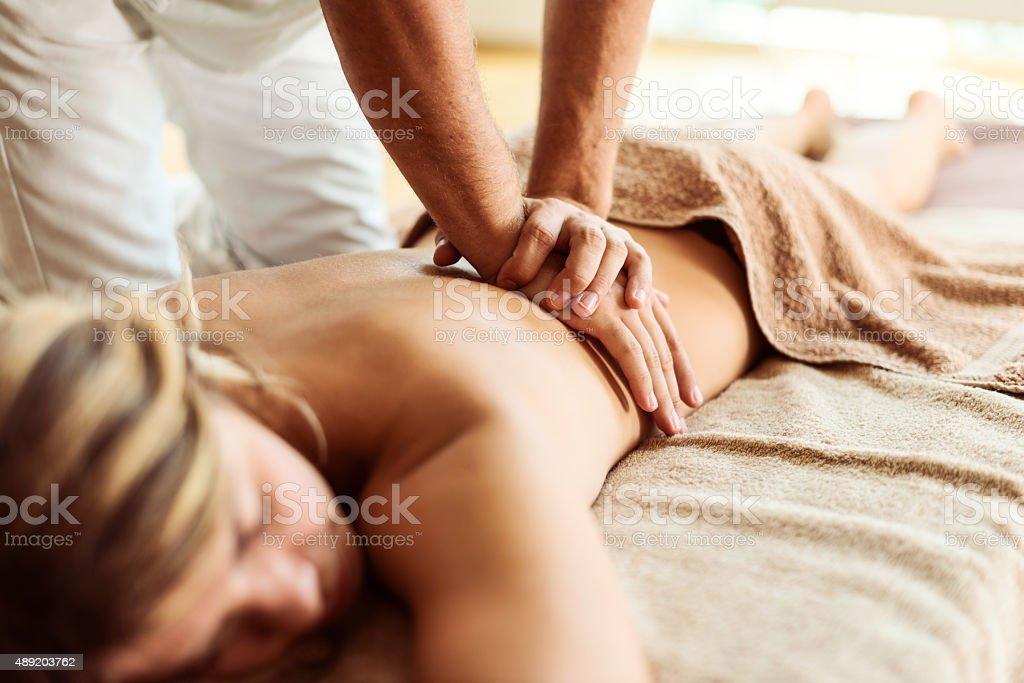 Perfect back massage stock photo