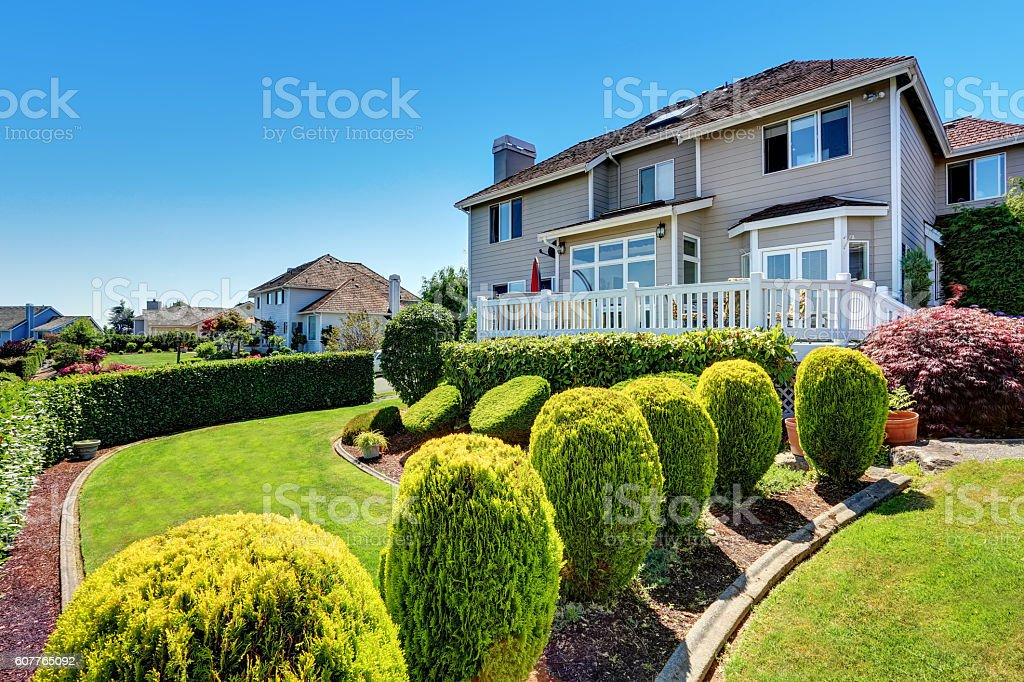Perfect backyard leveled landscape design with staircase. stock photo