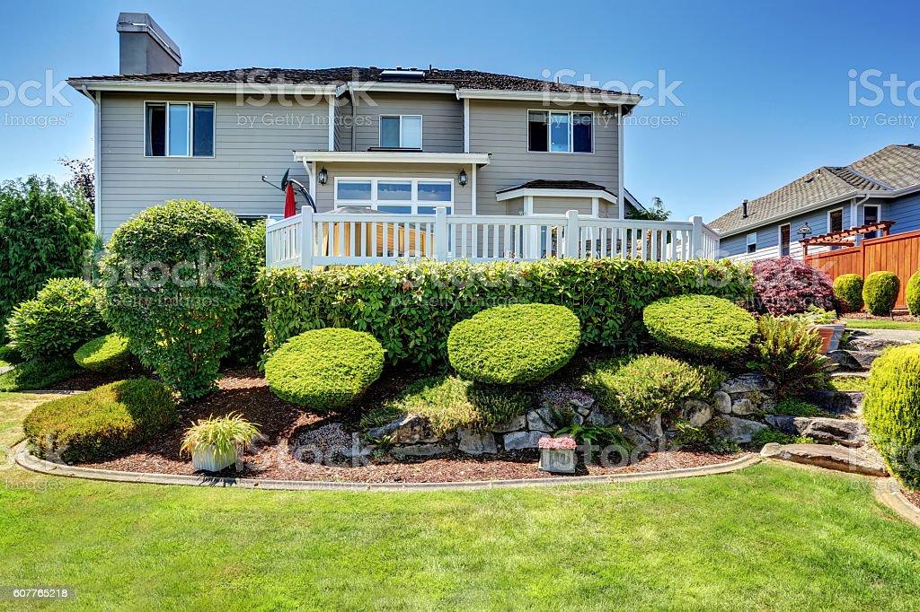 Perfect backyard leveled landscape design with stones. stock photo