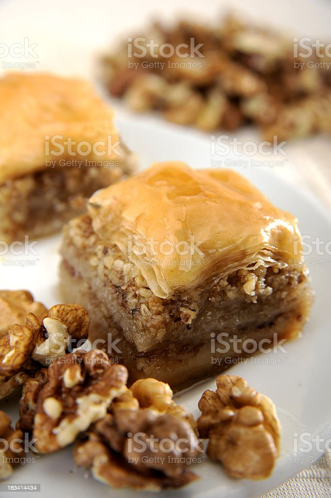 Perfect Baklava with Walnut stock photo