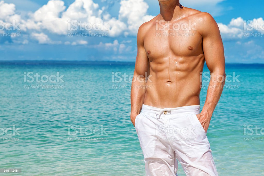 Perfect beach body for the summer stock photo