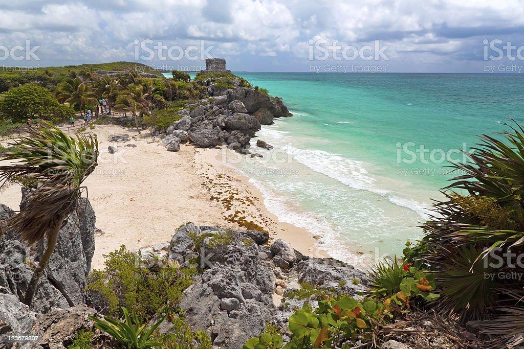 Perfect beach of Tulum stock photo
