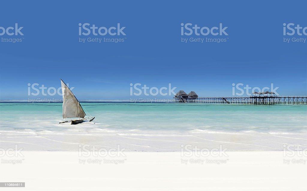 Perfect beach scene stock photo