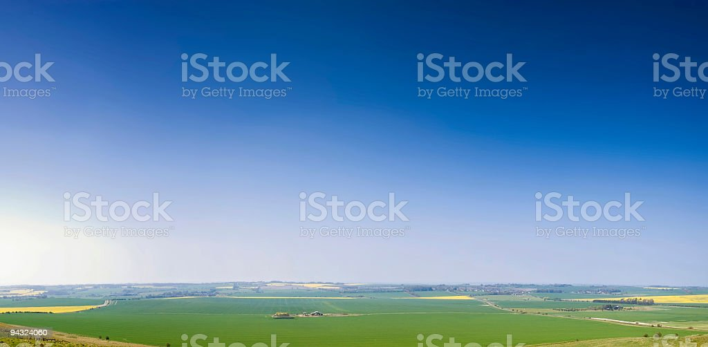 Perfect blue sky over green landscape royalty-free stock photo