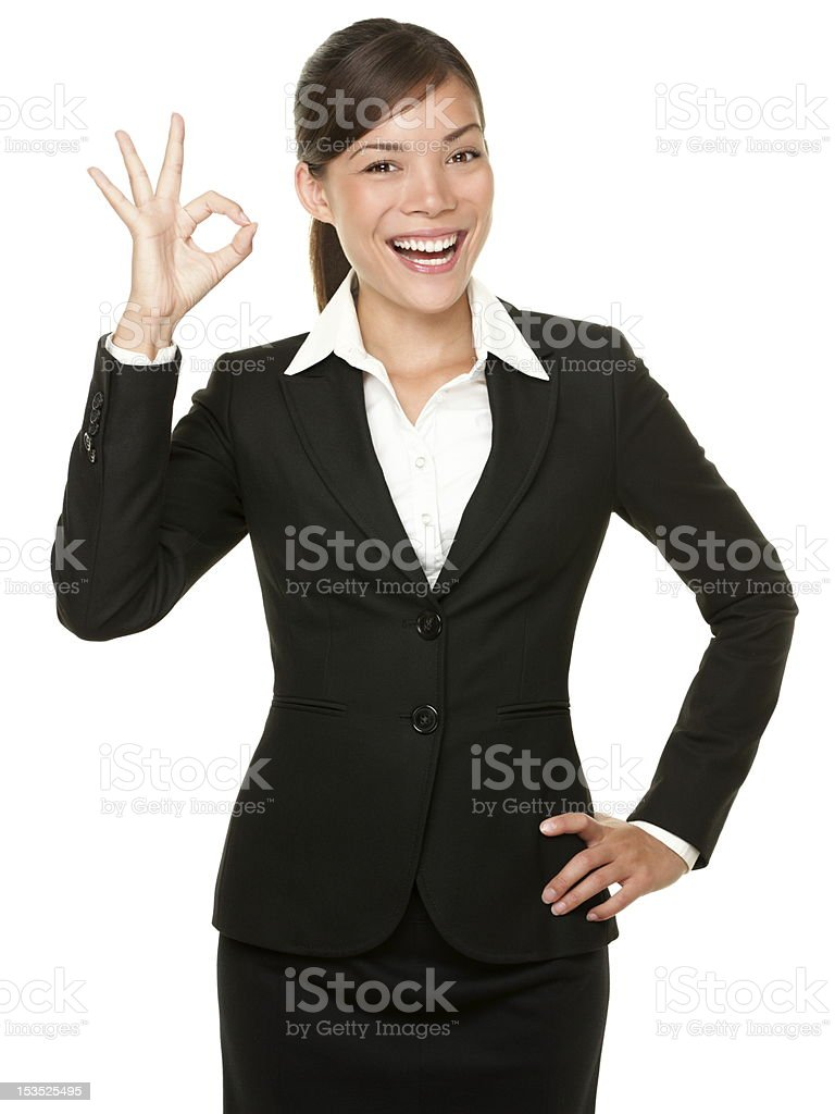 Perfect - business woman OK sign royalty-free stock photo