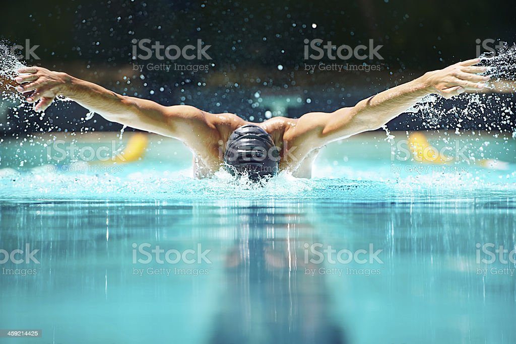 Perfect butterfly stroke! stock photo