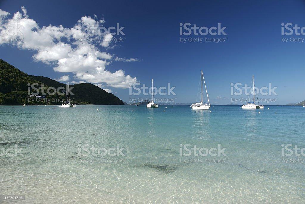 Perfect Caribbean Bay with Sailboats royalty-free stock photo