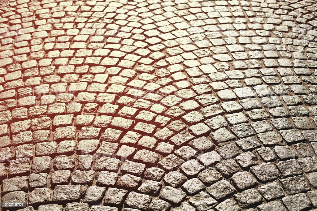 Perfect cobblestone streets of the city. stock photo