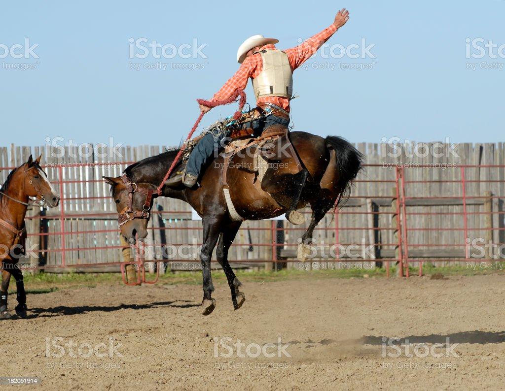 Perfect cowboy form on wild bucking horse stock photo