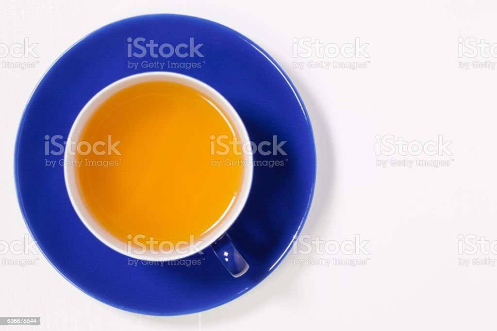 Perfect cup of tea on white wooden table stock photo
