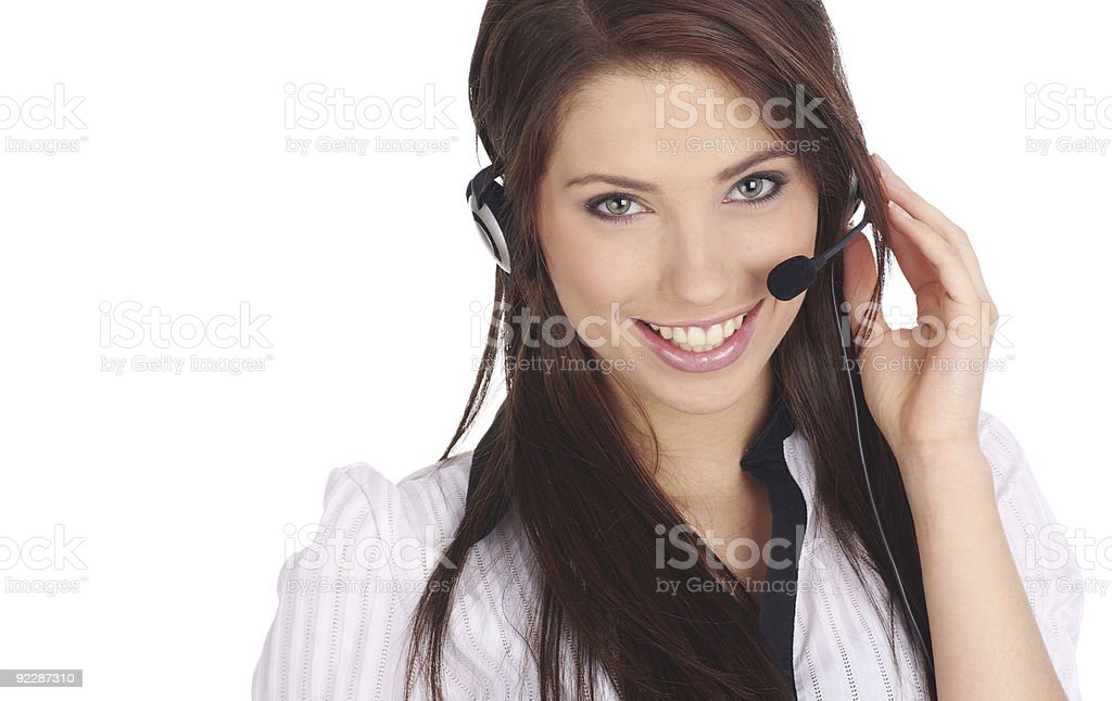 Perfect customer support. Switchboard Operator royalty-free stock photo