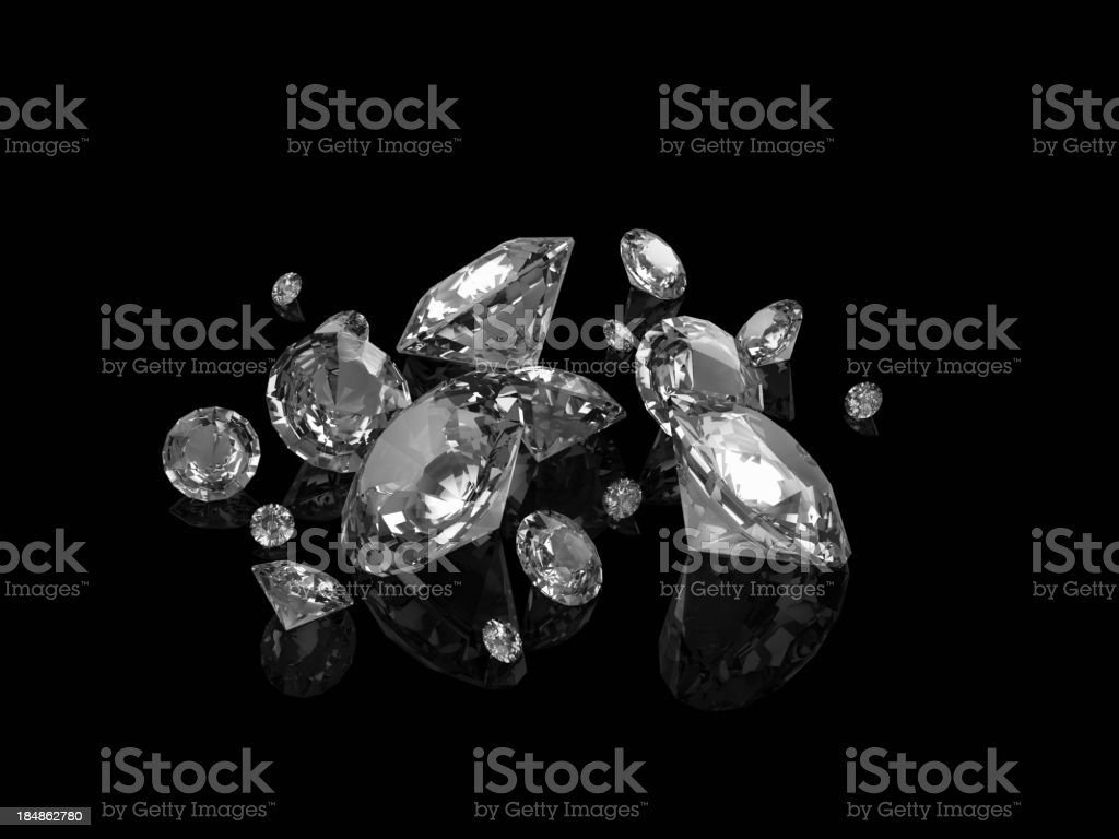 Perfect cut diamonds on black royalty-free stock photo