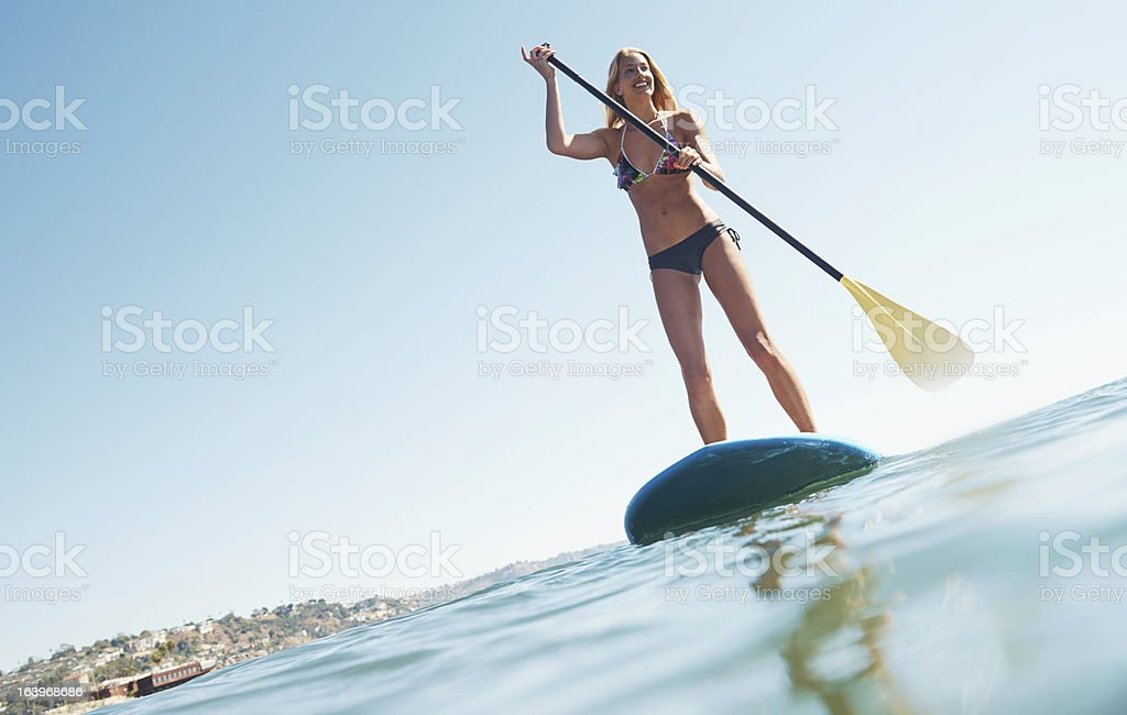 Perfect day for a paddle stock photo