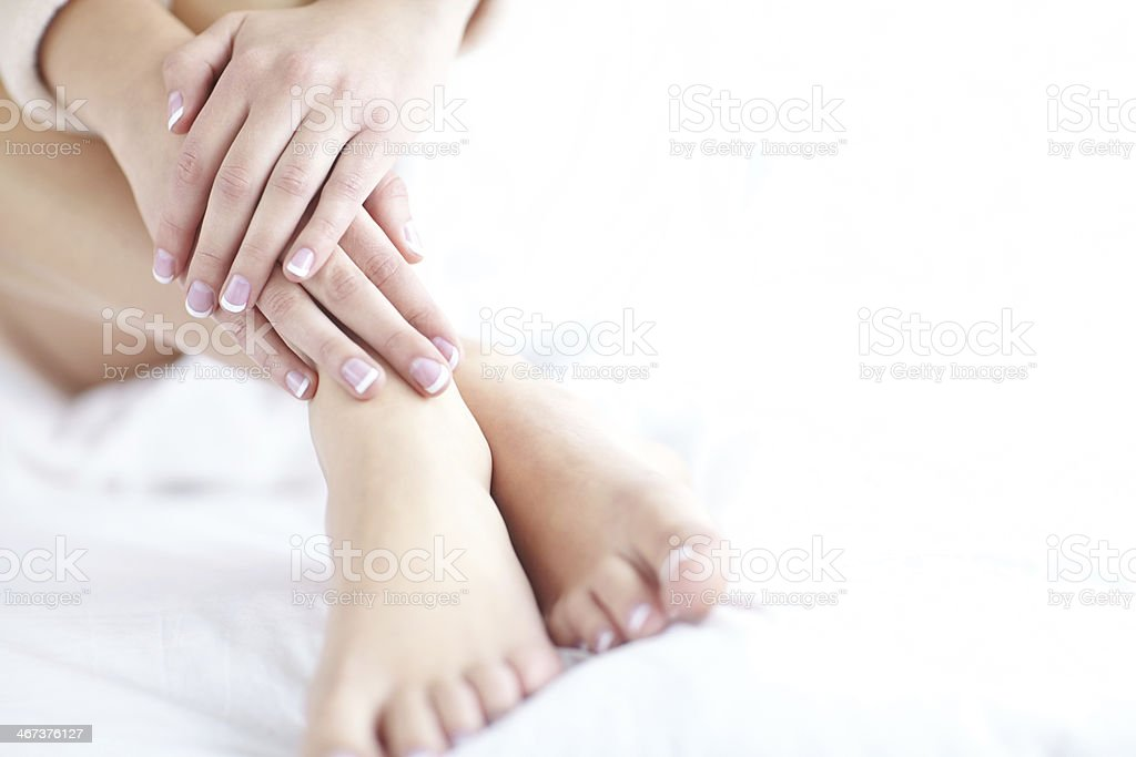 Perfect French manicure stock photo