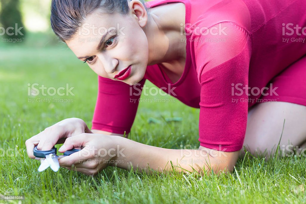 Perfect grass cutting stock photo