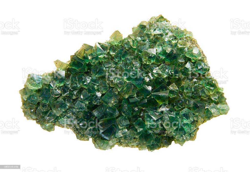 Perfect green fluorite crystals isolated on white. stock photo