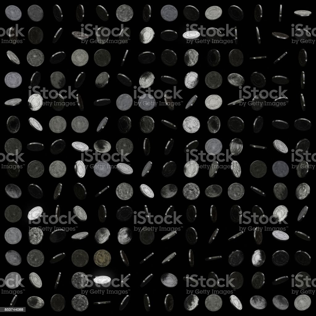 Perfect Grid of Variosly Oriented Shiny Metal Film Cans on a Black Background stock photo