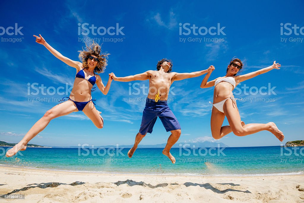 Perfect holiday for us - beach, ocean, sun and fun stock photo
