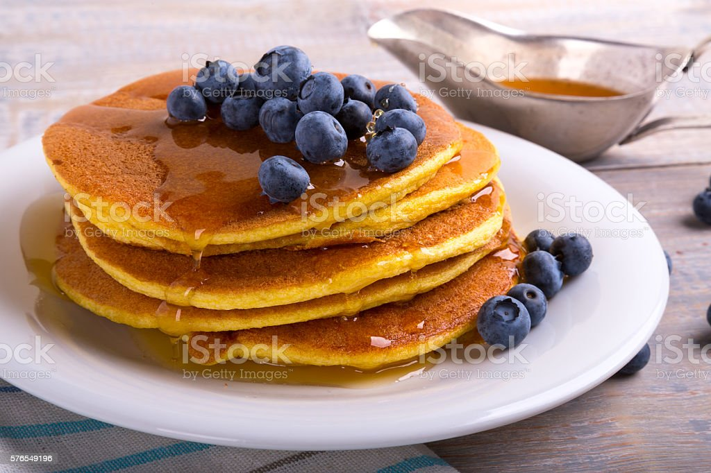 perfect homemade fluffy pancakes stock photo