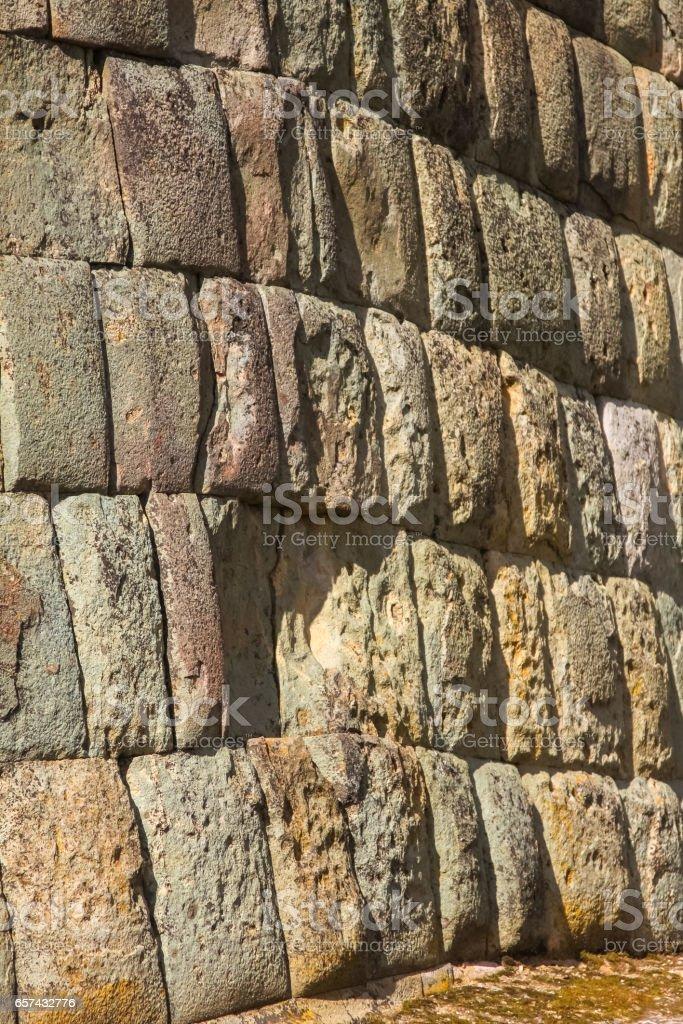 Perfect Inca wall in Ingapirca, most important Inca ruins in Ecuador stock photo