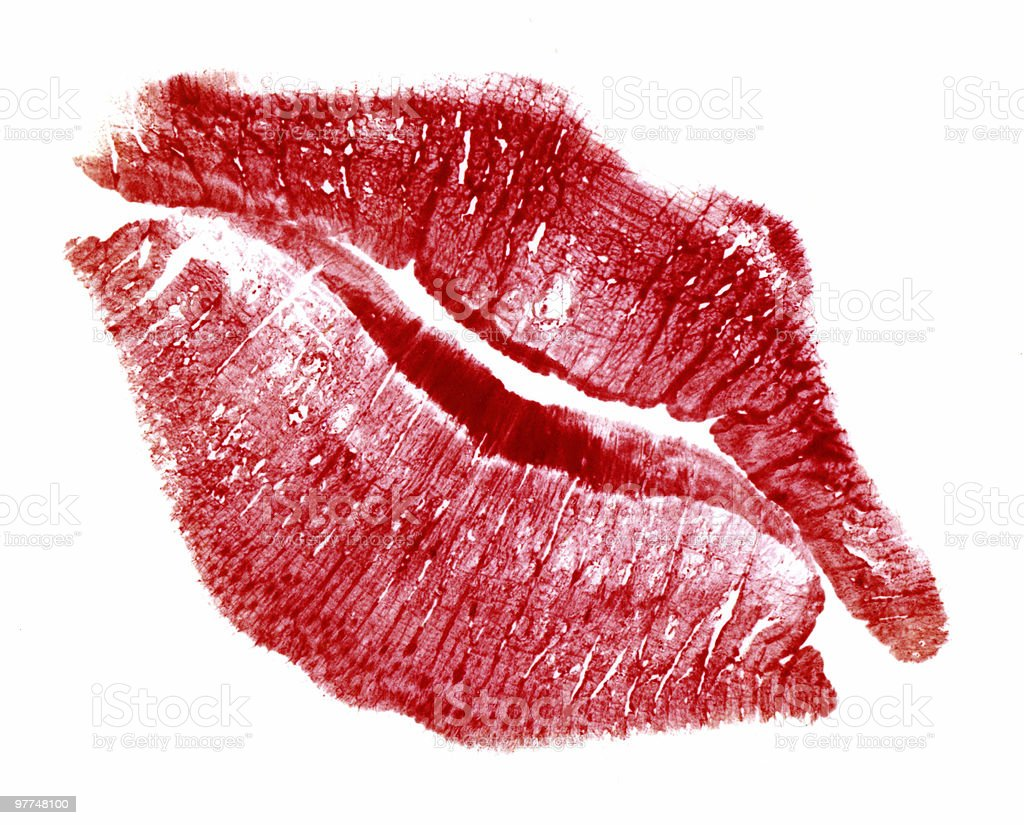 perfect kiss with red lip print stock photo